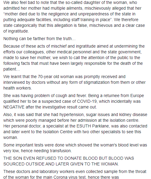 Enugu state health workers respond as daughter writes to Enugu state governor, claiming her mom died of negligence after testing negative to coronavirus