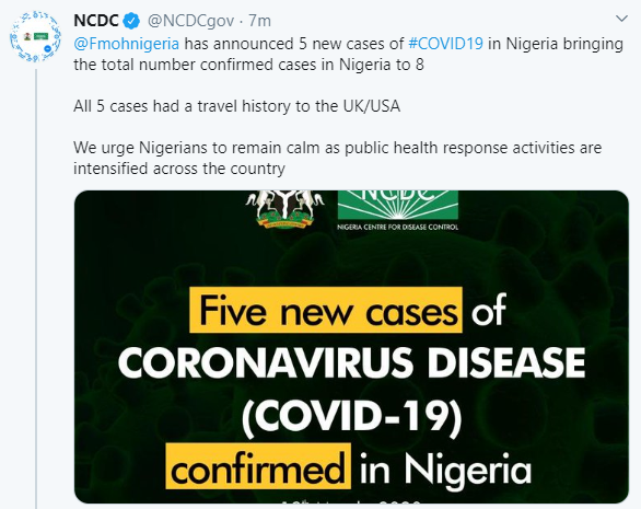 Breaking:  FG confirms five new cases of Coronavirus in Nigeria