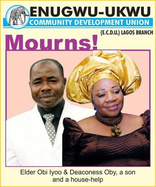 Abule Ado explosion: Photos of Anambra couple who died alongside their son and houseboy on their way to church