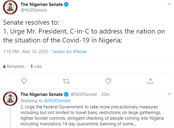Coronavirus: Address Nigerians now, restrict Large gatherings - Senate tells President Buhari