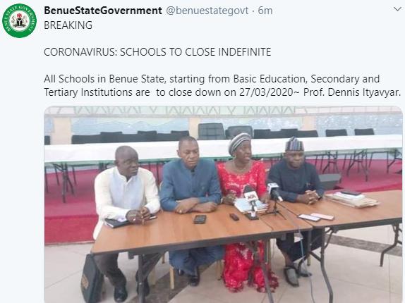Coronavirus: Benue state government shut down schools indefinitely