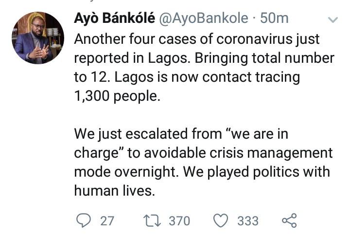Lagos State announces 4 new cases of Coronavirus