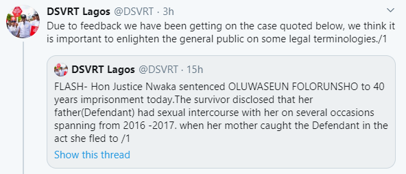 In Lagos, a father having sex with his daughter is termed defilement and not rape- DSVRT explains
