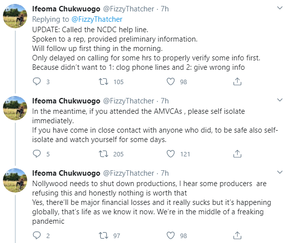 """If you attended the AMVCAs , please self isolate immediately"" - Producer advises as she threatens to report person who flew in for AMVCA and has coronavirus symptoms"