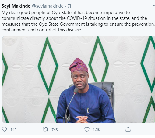 """It should not have happened. I take responsibility"" Oyo state governor reacts to backlash over the rally he held amid the coronavirus crisis"