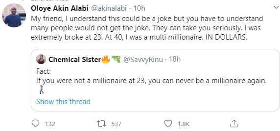 """I was extremely broke at 23. At 40 I was a multimillionaire"" Akin Alabi responds to Twitter user who said ""If you"