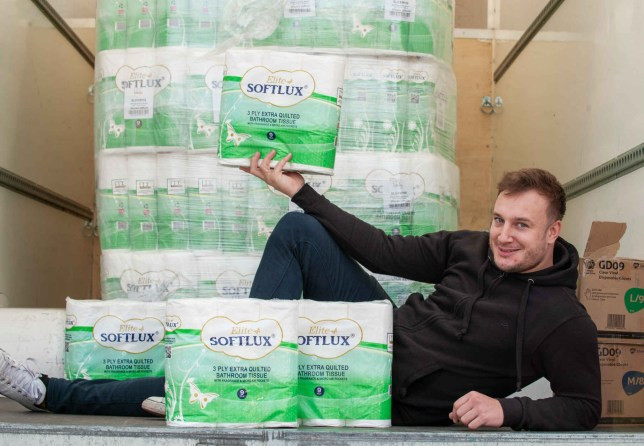 DJ cashes in on coronavirus pandemic as he makes ?3,000 in two hours selling toilet roll out of the back of his van (photos).