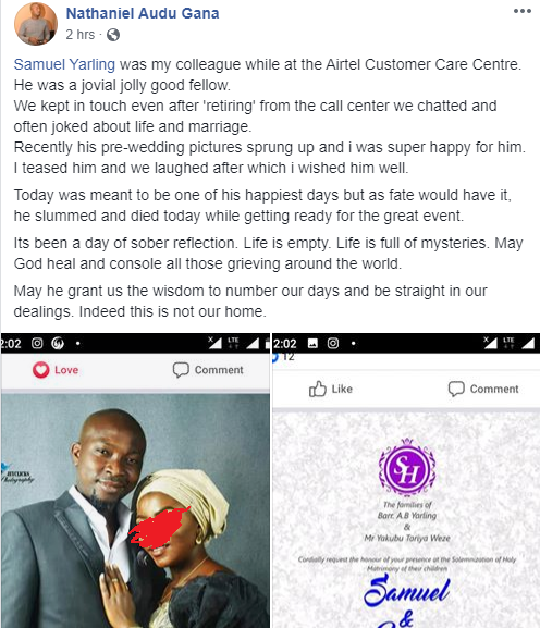 Nigerian man dies on his wedding day