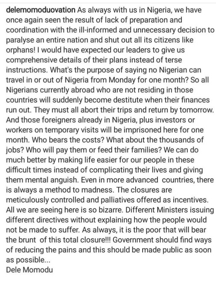 Dele Momodu expresses his displeasure as FG bars international flights from coming into the country