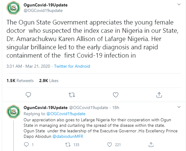 Nigerian doctor who stopped Italian man from spreading coronavirus in Nigeria identified, see photos lindaikejisblog 1