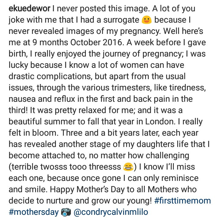 Eku Edewor reveals images of her pregnancy for the first time to celebrate Mothers Day
