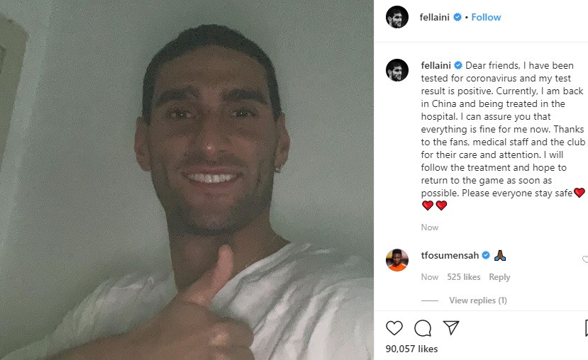 Former Manchester United star Marouane Fellaini hospitalized after testing positive to Coronavirus