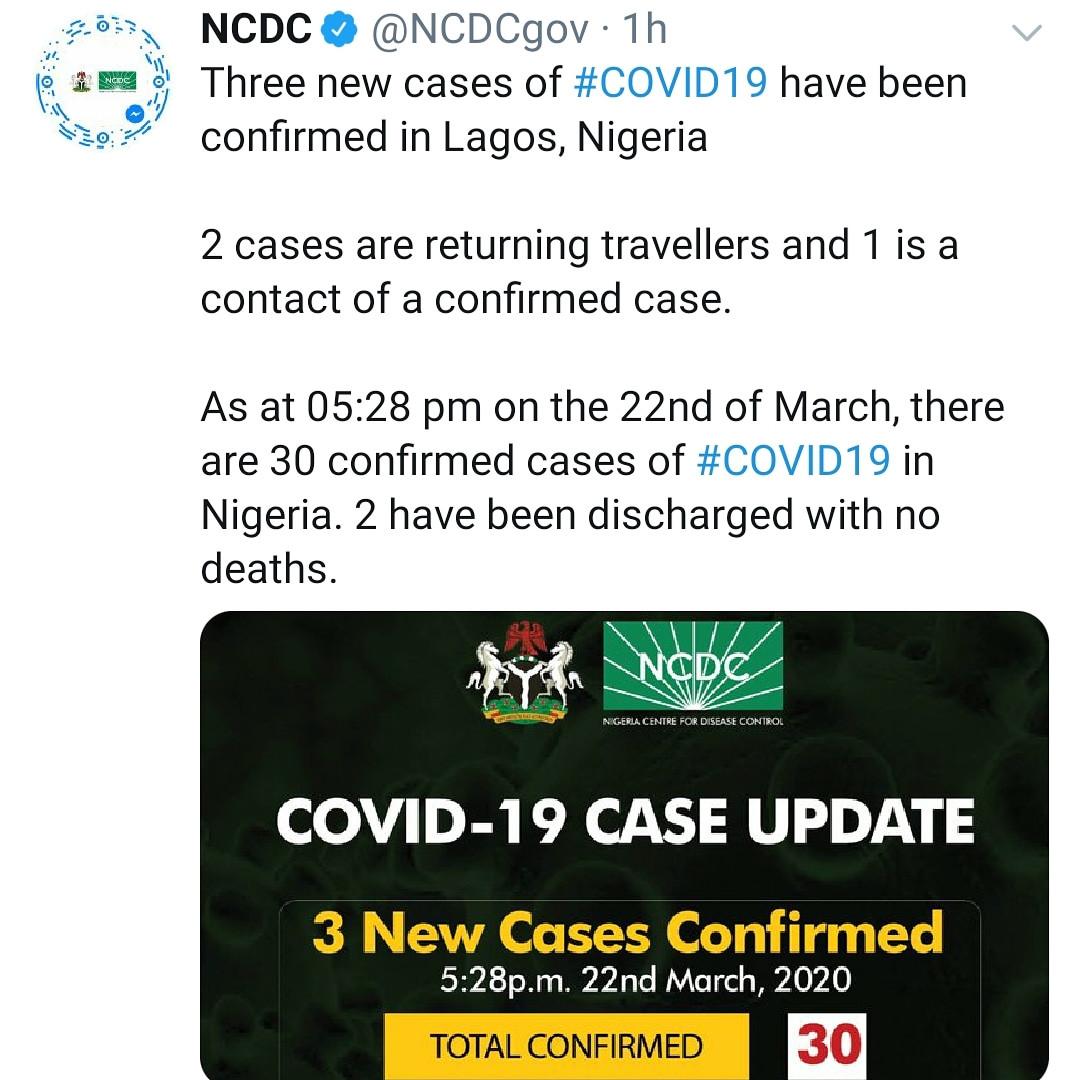 Three new cases of Coronavirus recorded in Lagos
