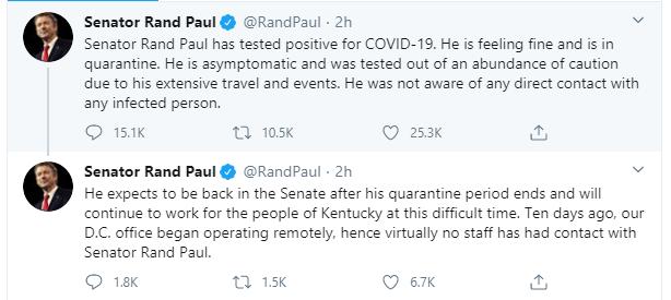 US Senator, Rand Paul tests positive for coronavirus