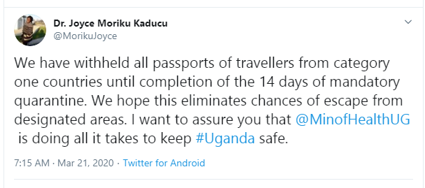 Uganda seizes passports of all travellers from countries with high coronavirus cases