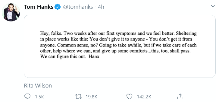 Tom Hanks gives an update on his health after he and his wife tested positive to coronavirus