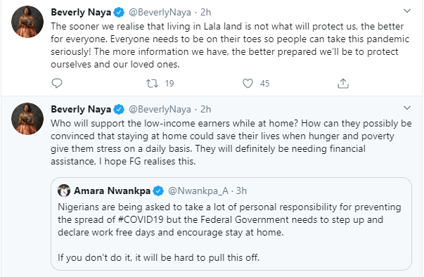 Who will support the low-income earners while at home? Beverly Naya reacts to stay-at-home advice to Nigerians over coronanvirus