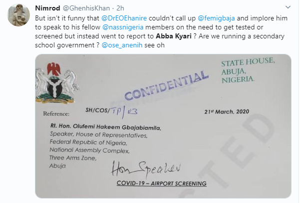 House of Reps members who returned from abroad allegedly refused to undergo coronavirus tests. Seee leaked letter from CoS Abba Kyari