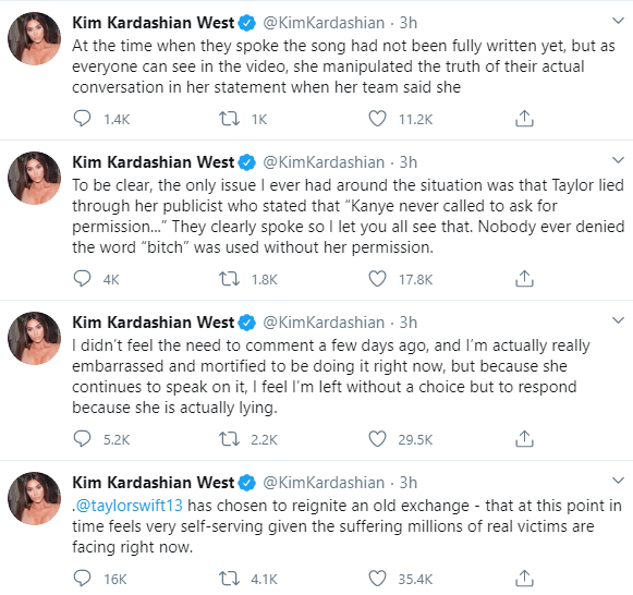 """She is actually lying"" Kim Kardashian insists as she hits back at Taylor Swift"