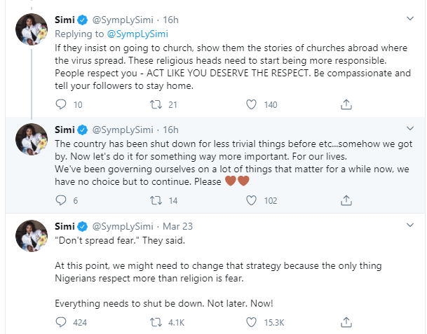 Nigerians respect fear more than religion - Simi speaks against the current coronavirus strategy