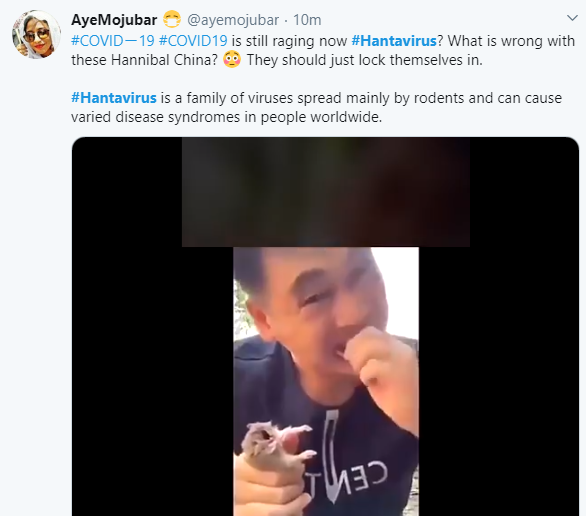 Hilarious reactions from Twitter users to the Hantavirus which killed a man in China