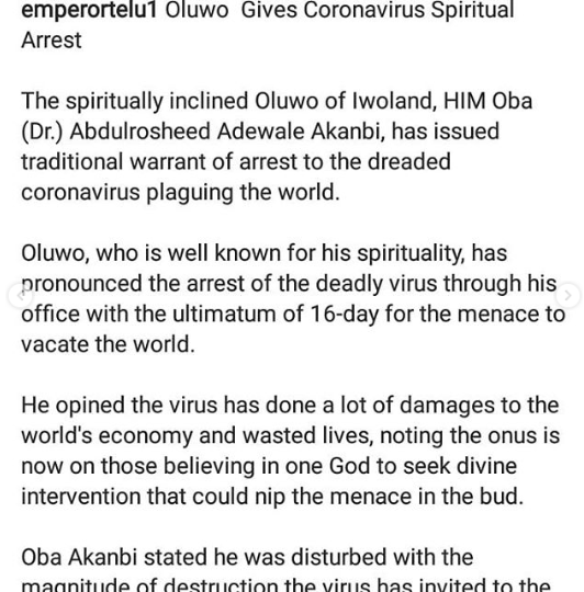 Oluwo of Iwo issues spiritual warrant of arrest for Coronavirus (video)