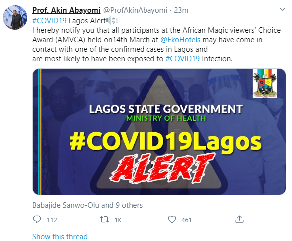 Self-isolate now if u attended AMVCA- Lagos health commissioner warns as an attendee of the award tests positive for coronavirus