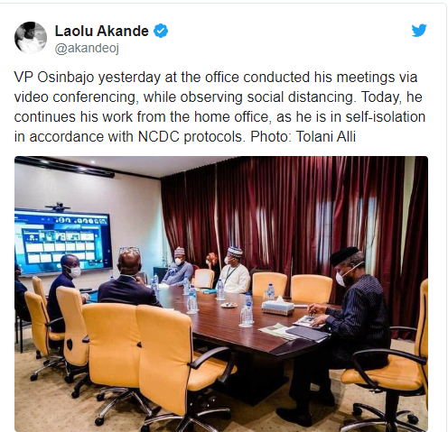 Osinbajo goes into self-isolation after President Buhari