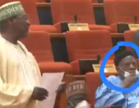 Moment a Nigerian Senator removed his face mask to sneeze during plenary  (video)