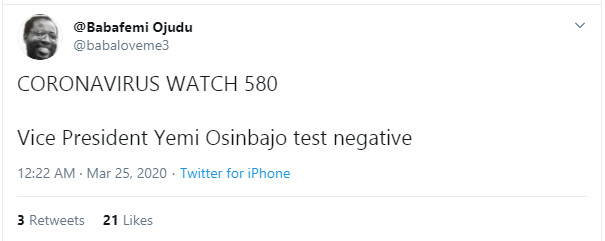 Osinbajo tests negative for coronavirus