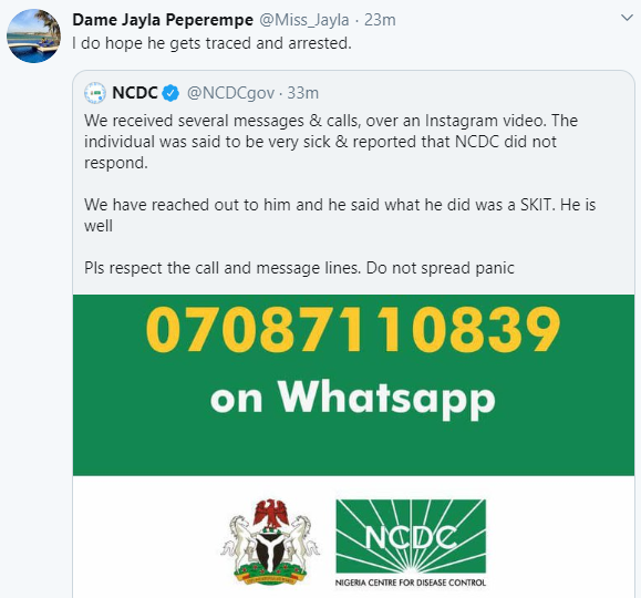 Coronavirus: NCDC issues warning after they reached out to an Instagram user who claimed he needed urgent help only to discover it was a skit