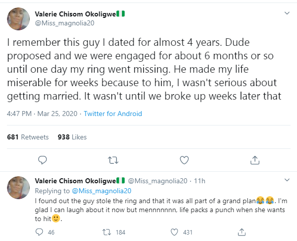 Nigerian lady narrates how her fiance stole the engagement ring he gave her to use it as an excuse for a breakup