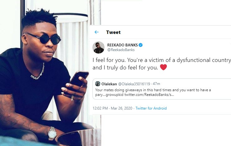 You're a victim of a dysfunctional country - Reekado Banks tells Twitter user who shamed him for not doing 'giveaways' like other celebs