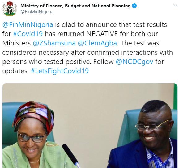 Lai Mohammed, Ministers, SGF test negative for coronavirus