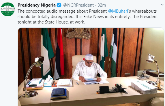 Presidency shares photo of President Buhari in his office