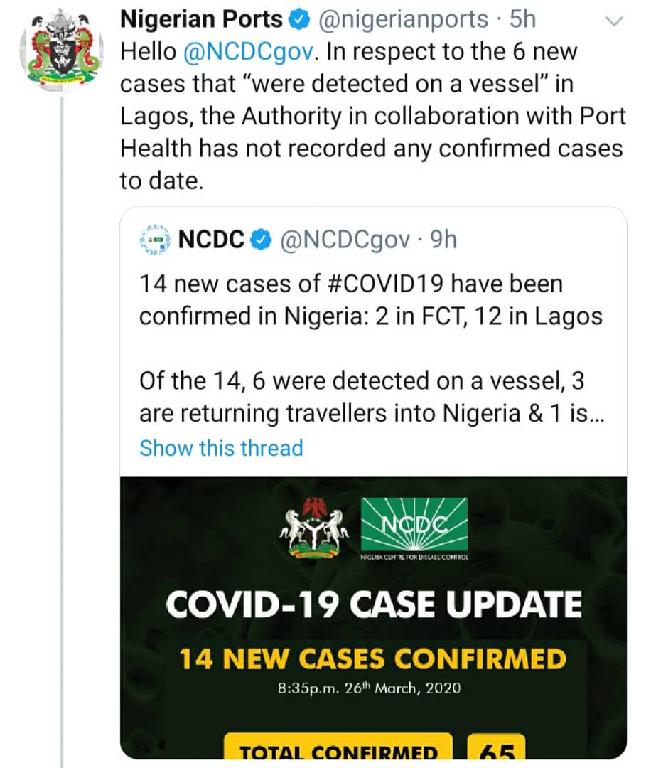Coronavirus: Nigerian Ports Authority calls out NCDC over claims of detecting new cases on a vessel in Lagos