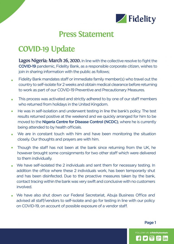 Fidelity Bank staff tests positive for coronavirus