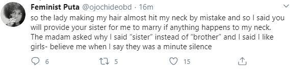 Lesbian narrates the reaction she got when she disclosed her sexuality in a saloon