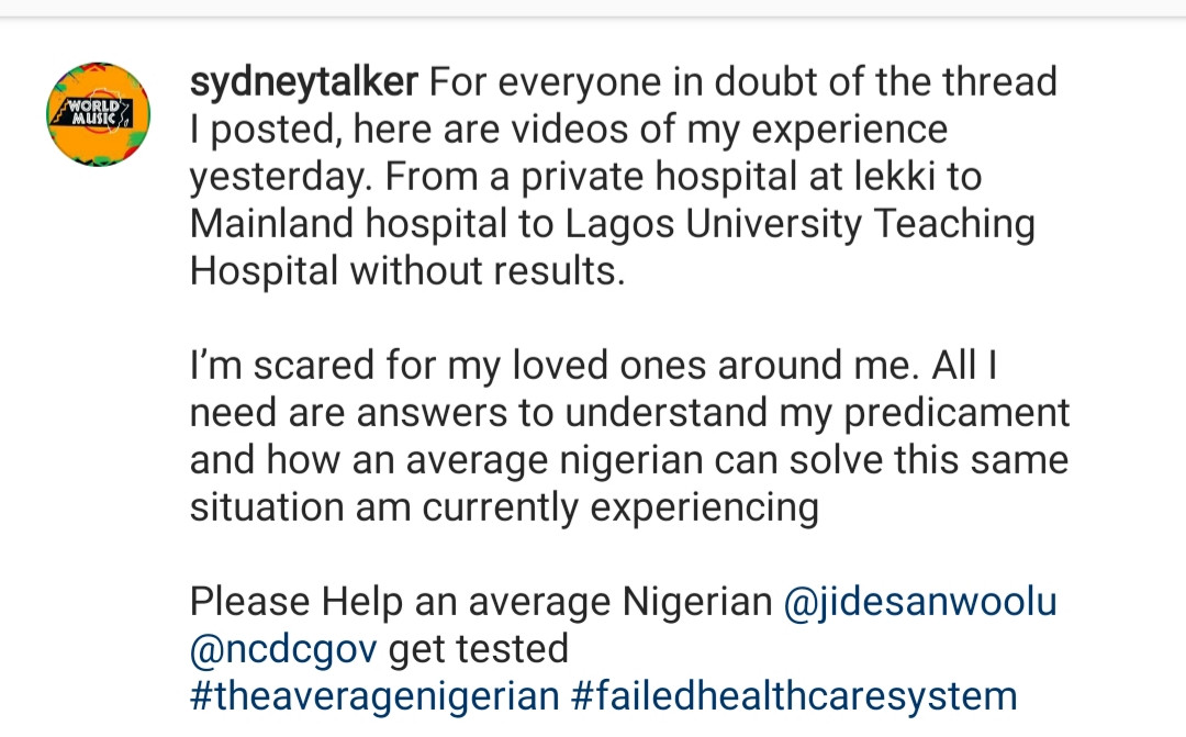 IG Comedian, Sydney Talker, cries out after reportedly showing symptoms of Coronavirus (video)
