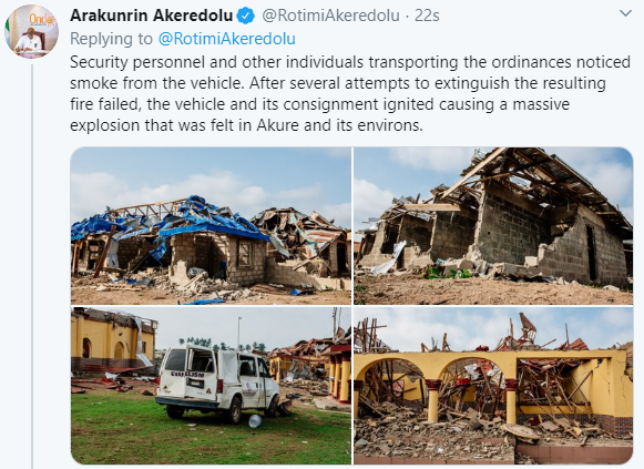 A vehicle transporting explosives caused the explosion in Akure - Governor Akeredolu