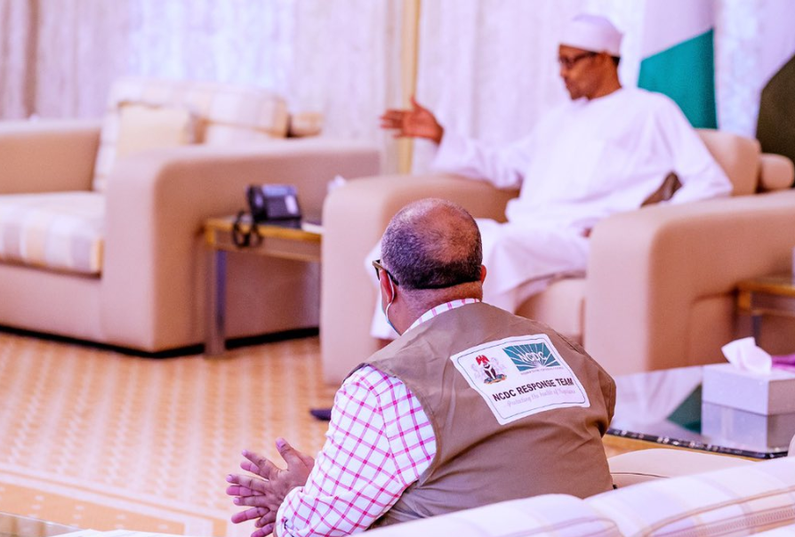 #Coronavirus: President Buhari receives briefing from Minister of Health, Osagie Ehanire, DG of NCDC (photos/video)
