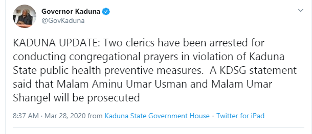 Two Islamic clerics arrested for conducting prayers in Kaduna during lockdown over coronavirus