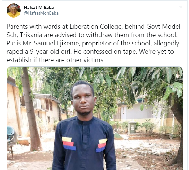 School proprietor accused of raping 9-year-old pupil in Kaduna