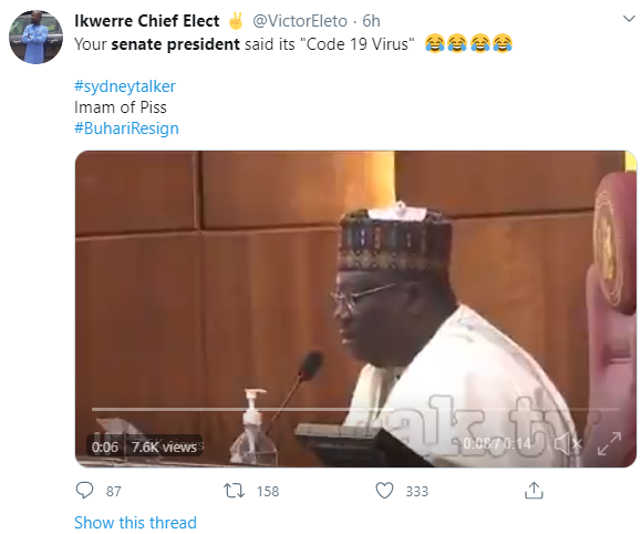 "Nigerians react as Senate President of Nigeria, Ahmed Lawan refers to ""COVID-19"" as ""COD 19"""
