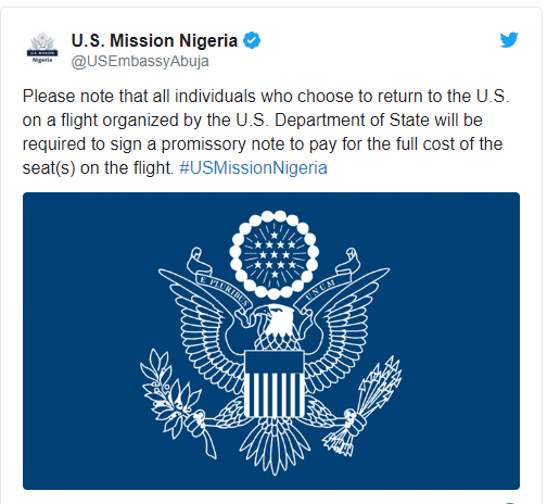 Coronavirus: American citizens in Nigeria told to pay for their flight evacuation?
