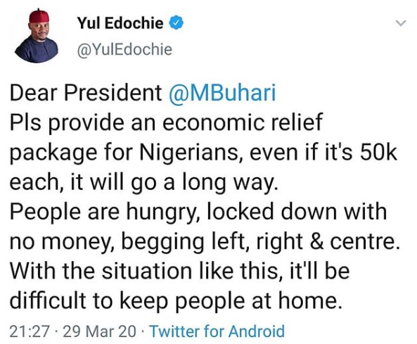 #Coronavirus: Provide economic relief for Nigerians, even if it is N50k each-  Actor, Yul Edochie tells President Buhari