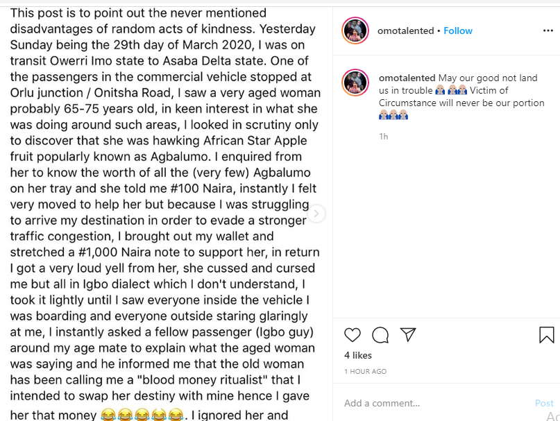 Actor Okiemute Mrakpo recounts how an old woman he was trying to help called him a ritualist