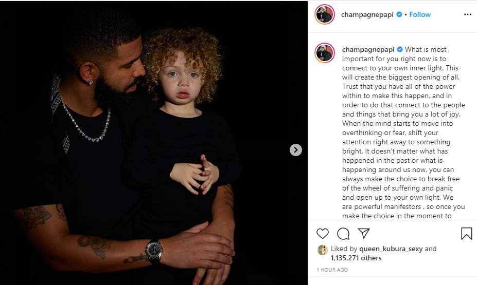 Drake shares first adorable photos of his 2-year-old son, Adonis