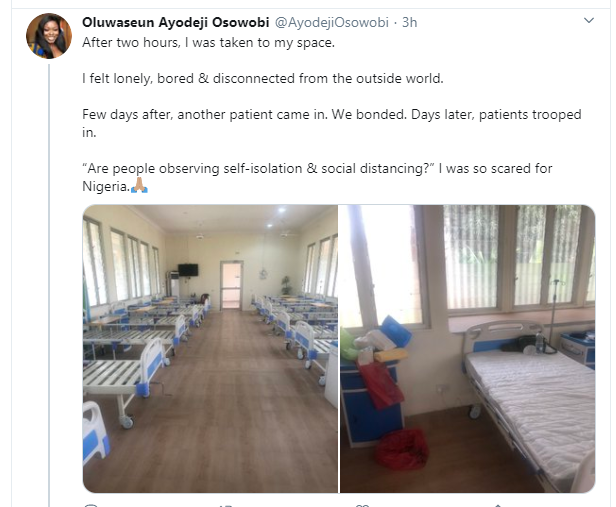 One of the coronavirus patients who was discharged today in Lagos after surviving the disease, shares her story