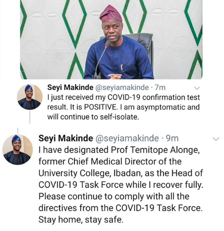 Breaking: Oyo state governor, Seyi Makinde tests positive for Coronavirus